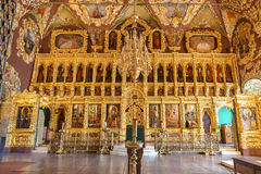The iconostasis in the interior of the church of St. Sergius, Trinity-Sergius Lavra, Sergiev Posad Stock Images