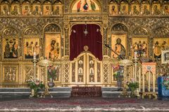 Iconostasis in Melkite cathedral Stock Images