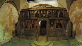 Iconostasis mit Ikonen auf Schießenpavillon stock footage