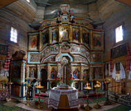Iconostasis of old wooden Church of the Holy Martyr Paraskeva in Pirogovo, Kiev, Ukraine Stock Photography