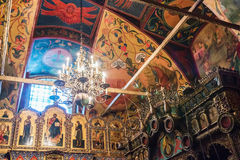 iconostasis and paintings on the walls of St. Basil's Cathedral Stock Photo