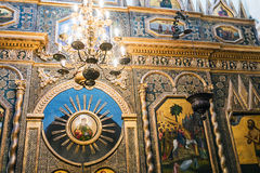 iconostasis and paintings on the walls of St. Basil's Cathedral Stock Photos