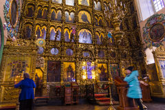 Iconostasis in Peter and Paul Cathedral in Kazan, Republic of Tatarstan, Russia Stock Image