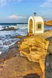 Iconostasis St. Peter and St. Nicholas at coastline of village of Chernomorets, Burgas Region. Bulgaria Royalty Free Stock Image