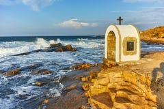 Iconostasis St. Peter and St. Nicholas at coastline of village of Chernomorets, Burgas Region. Bulgaria Stock Photo