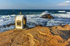 Iconostasis St. Peter and St. Nicholas at coastline of village of Chernomorets, Burgas Region. Bulgaria Royalty Free Stock Photography