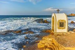 Iconostasis St. Peter and St. Nicholas at coastline of village of Chernomorets, Burgas Region. Bulgaria Stock Images