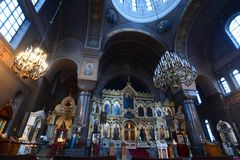 The iconostasis. Uspenski Cathedral. Helsinki. Finland. Helsinki is the capital and largest city of Finland. Uspenski Cathedral is an Eastern Orthodox cathedral stock photography