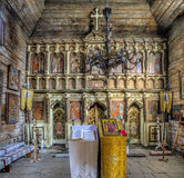 Iconostasis in the wooden church Royalty Free Stock Photography