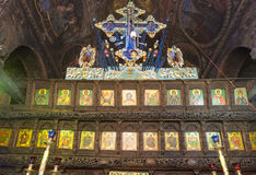 The iconostasis in the wooden salary in the Troyan Monastery, Bulgaria stock photos