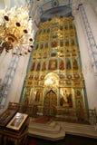 Iconostasisen av uppståndelsedomkyrkan i nya Jerusalem M Arkivbilder