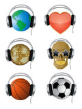 Icons. A set of vector icons with the headphones Stock Photos