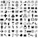 Icons. Illustration with 100 web black icons stock illustration