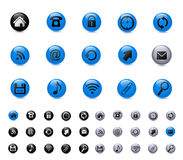 Icons. Set of icons: blue, black, silver Stock Photos