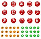Icons. Set of icons: red, green, orange Royalty Free Stock Photography