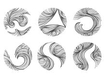Abstract Wind line round shape logo icon set. White background. royalty free illustration