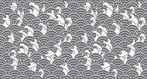 Oriental Water wave seamless wallpaper. vector illustration