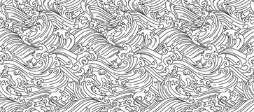 Oriental Water wave seamless wallpaper. Japanese. Chinese. Thai. vector illustration