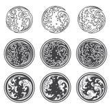 Oriental water wave.Yin Yan icon. Japanese. Thai. Round shape. vector illustration