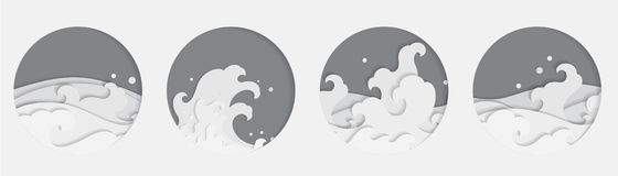 4 Oriental Water wave Papercut styles in round shape. Thai. Chinese. Japanese. stock illustration