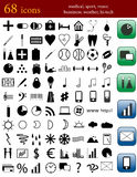 Icons. Collection of 68 different icons for web, medical, sport, music, business, weather, hi-tech and other Stock Photography