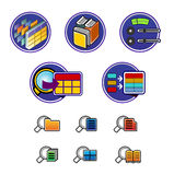 Icons. Colored icons on the system folders and files stock illustration