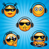 Icons. Party DJ Smileys. Variety vector Deejay Faces for your icons, avatars, logos Stock Photography
