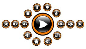 Icons. Media player raster iconset. Vector version is available in my portfolio Royalty Free Stock Photo