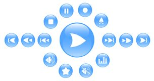 Icons. Media player raster iconset. Vector version is available in my portfolio Royalty Free Stock Photos