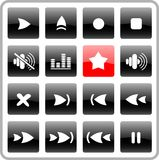 Icons. Media player raster iconset. Vector version is available in my portfolio Royalty Free Stock Images