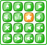 Icons. Media player raster iconset. Vector version is available in my portfolio Royalty Free Stock Image