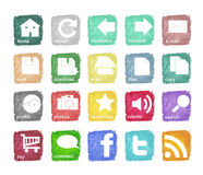 Icons. Artistic and colorful web icons vector Royalty Free Stock Photography