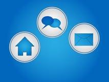 Icons. Set of three blue icons Royalty Free Stock Image