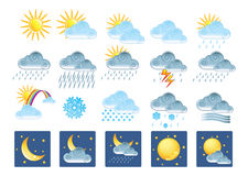 Icons. 20 weather related icons. Gradients only (no mesh Stock Photography