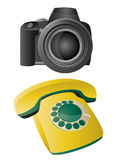 Icons. Vector icons of photo camera and telephone Royalty Free Stock Photography