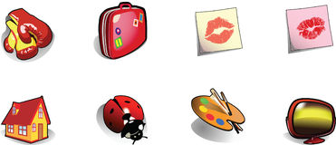 Icons. Realistic vector illustrations (eps8): boxing-glove, suitcase, kiss, house, ladybird, palette and TV Royalty Free Stock Photo