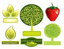 Icons. Ecological icons: green trees, a strawberry, leaves Royalty Free Stock Photography