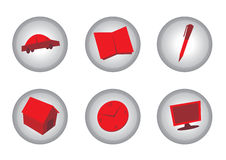 Icons in red and gray. Six circular icons in red and gray colors including one for a car, for a book , a pen, a house, a clock and a computer screen (or Royalty Free Stock Images