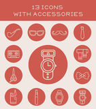 13 icons with accessories. Icon set with different fashion accessories Royalty Free Stock Photography