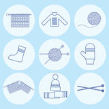 Icons accessories for knitting and knitwear. Royalty Free Stock Photography