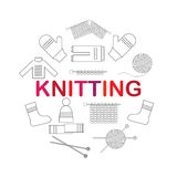 Icons accessories for knitting and knitwear. Stock Image