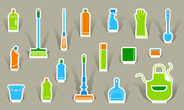 Icons of accessories and means for cleaning Stock Image