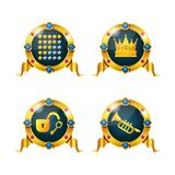 Icons of achievements, golden crown of victory, key from locks. Set of awards, badges, medals of achievements for computer games. Game ui, ux interface design vector illustration
