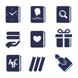 Icons for actions with books Stock Image