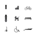 Icons for active leisure in the park Stock Photo