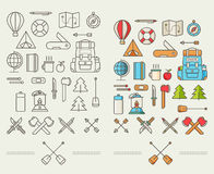 Icons for adventure in the style of flat Stock Photos