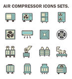Icons. Air compressor icons sets on white background Stock Photos