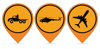 Icons aircraft, trucks, helicopters. Ratser Stock Photography