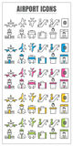 Icons airport color blck blue pink Yellow green vector on white Royalty Free Stock Photography