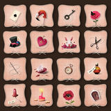 Icons Alice in Wonderland Royalty Free Stock Image